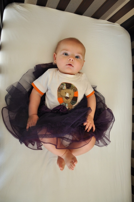 Leif's (kind of) Halloween outfit. Tiger ballerina? Week 22