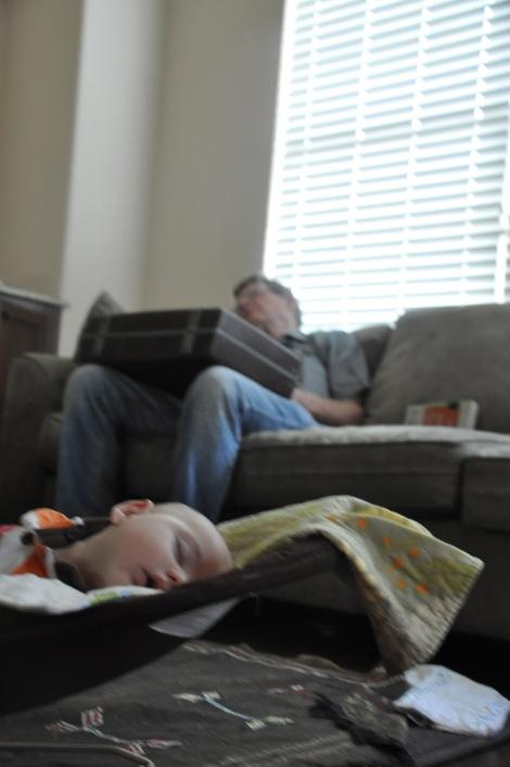 Leif and Grandpa take a nap: Week 16