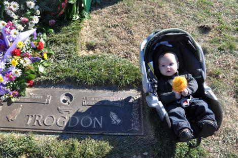 Leif at Grandma Trogdon's funeral: Week 33