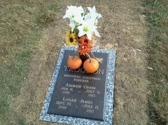 Adam and his wife Autumn picked out the headstone. My aunt Julia, the boy's grandmother decorated it beautifully for Halloween.